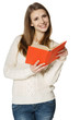 Smiling woman student standing with opened book