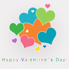 Divertida postal para San Valentín con corazones de colores