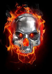 Metallic skull on fire