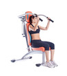 Brunette woman sitting on exerciser isolated