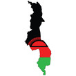 Country outline with the flag of Malawi