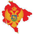 Country outline with the flag of Montenegro
