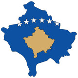 Country outline with the flag of Kosovo poster