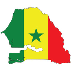 Country outline with the flag of Senegal