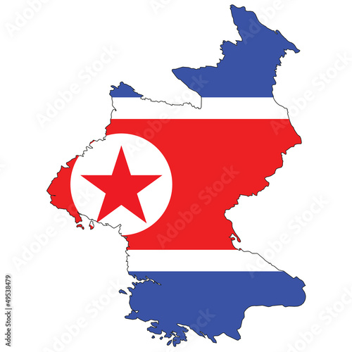 Country outline with the flag of North Korea