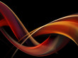 Abstract fiery waves on black background