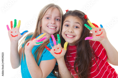 happy kids playing paint