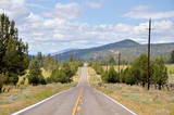 Straight Road and Mountain Landscape poster
