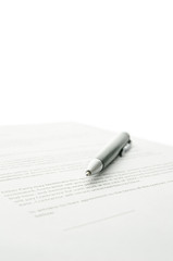 Pen on a contract