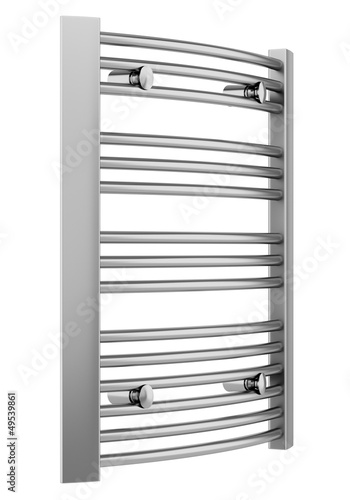 bathroom chrome towel rail isolated on white background