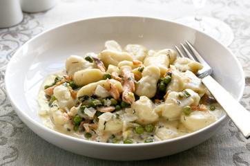 Gnocchi with Smoked Salmon and Peas