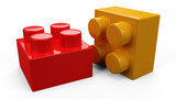 3D colorful plastic toy lego blocks. Isolated white background. poster