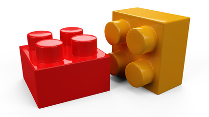 3D colorful plastic toy lego blocks. Isolated white background.