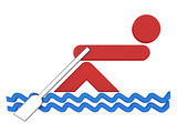 3D sport icon set... 3D rowing symbol...