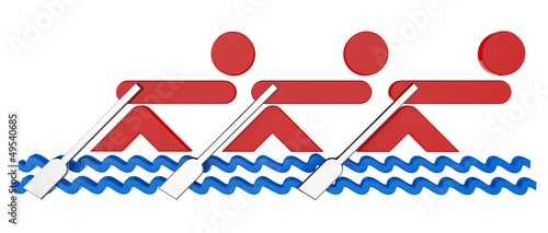 3D sport icon set... 3D rowing teams symbol...
