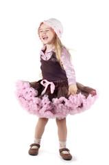 Little laughing girl in studio