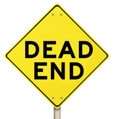 Dead End Yellow Warning Road Sign Closed No Exit