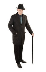 Man in suit with walking stick
