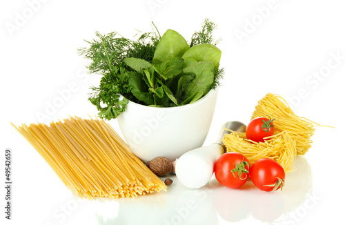Composition of mortar, pasta and green herbals, isolated
