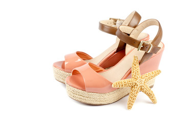 Peach Colored Wedge Sandals and Starfish