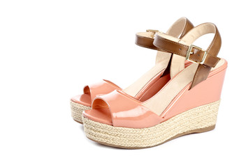 Peach Colored Wedge Sandals Isolated on White