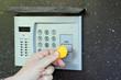 uses intercom in steel door
