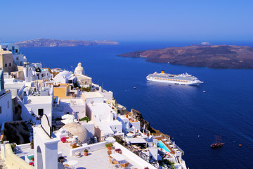 Panoramic view of the town of Fira, Santorini, Greece