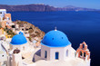 Famous blue dome churches of Santorini, Greece