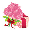 Roses and gift box