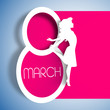 Happy Women's Day greeting card, gift card on pink background wi