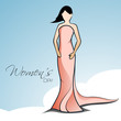 Happy Women's Day greeting card or background with a sketch of a