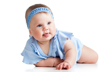 pretty baby girl isolated on white background