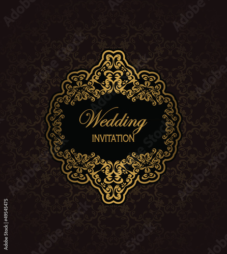 Vintage seamless background with a gold frame