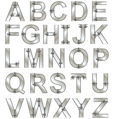 Metallic alphabet letters