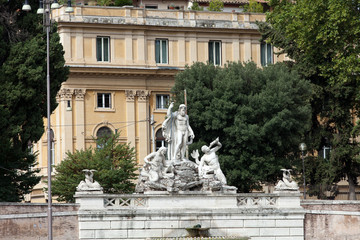 Rome - Fountain of Neptune in Piazza Popolo