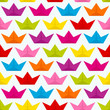 Seamless Pattern Colored Paperboats Waves