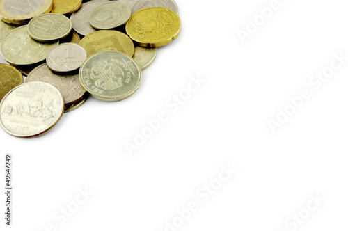 old coins border on white background