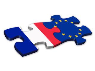 EU & French Flags (France European union politics jigsaw)