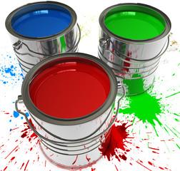 Farbdosen mit Spritzer