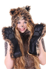 portrait of attractive girl in cat costume