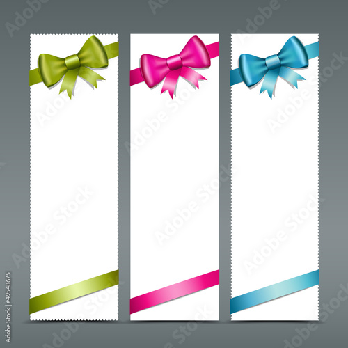 Colorful ribbons and white paper card, vector
