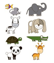 wildlife and farm animals icons
