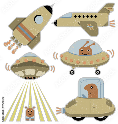 Cute spaceships and transportation vehicles