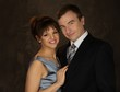 Happy elegant couple in classic dress