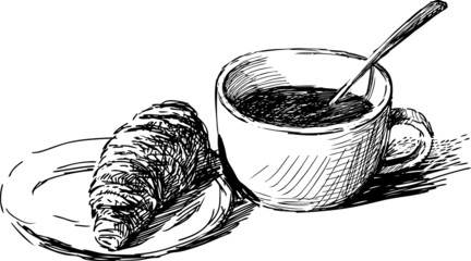 coffee and a croissant