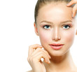 Portrait of Beautiful Young Woman with Fresh Clean Skin