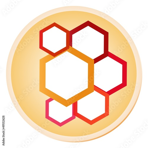 Colorful Illustration of Hexagons in Shiny Circle Label