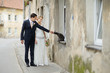 Bride, groom and a cat