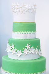 Green wedding cake decorated with white flowers