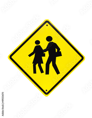 Traffic School warning sign) on isolated